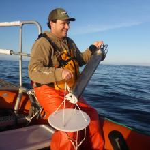 Joe Haxel ready to deploy the drifting hydrophone