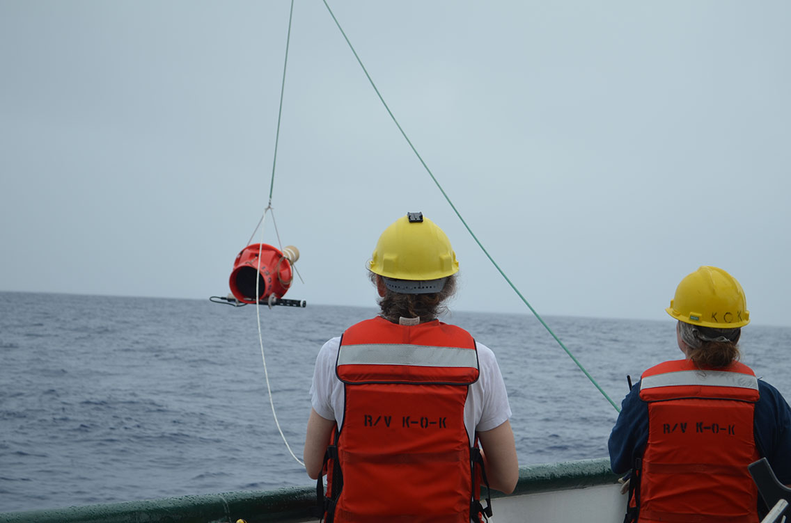 Dr. Elizabeth Steffen (left) and Marine Tech Elizabeth Ricci (right) deploy a Deep Argo float, capable of reporting temperature and salinity from 6 km to the ocean surface.jpg