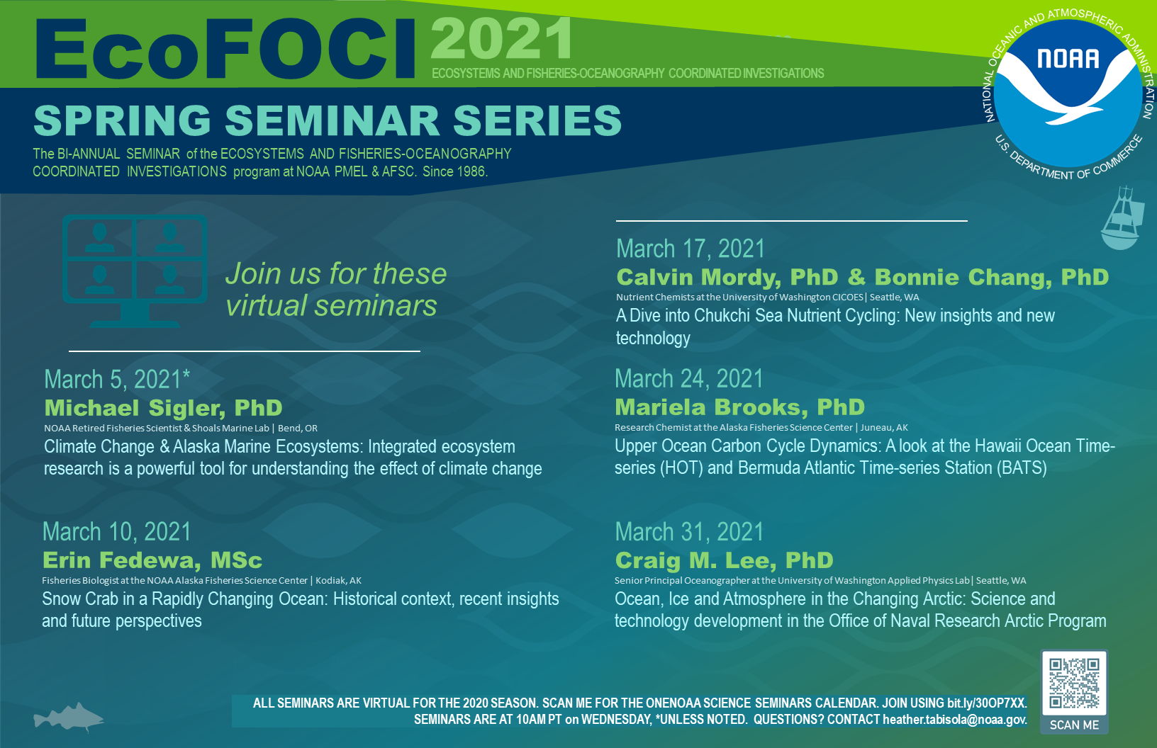 Flyer on teal background listing all of the speakers for the EcoFOCI Spring Seminar Series