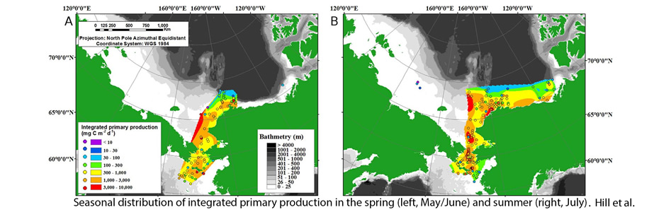 Seasonal distribution of integrated primary production