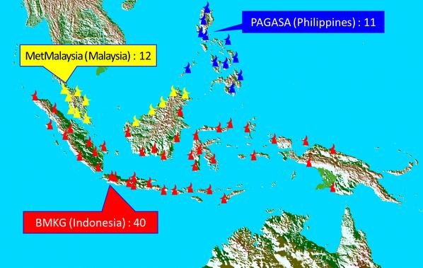 Weather radars observation networks map